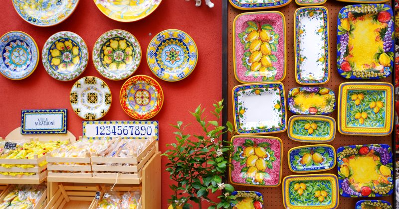 Typical ceramics sold in beautiful town of Positano, Italy